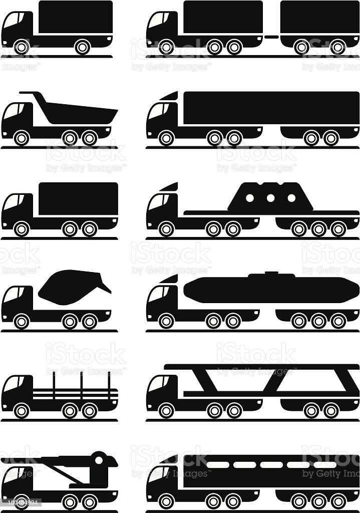 Different types of trucks royalty-free stock vector art