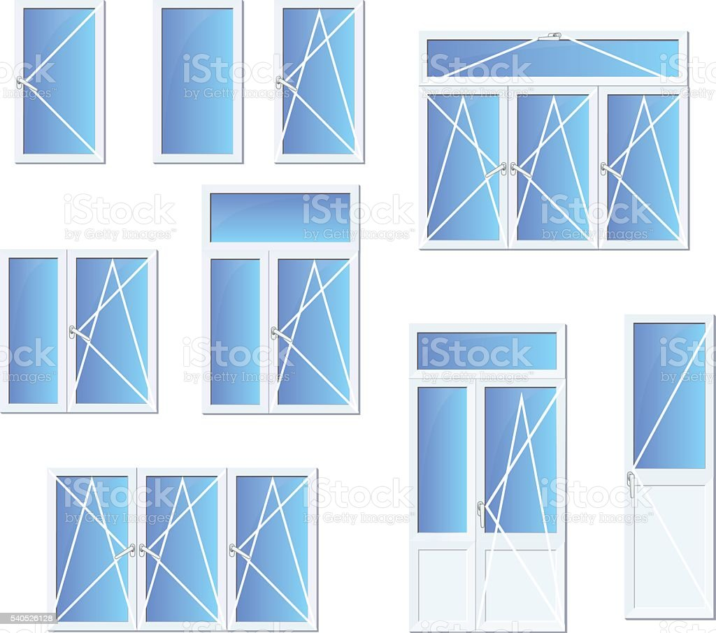 Different types of windows and doors set vector art illustration