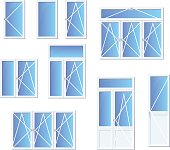 Different types of windows and doors set