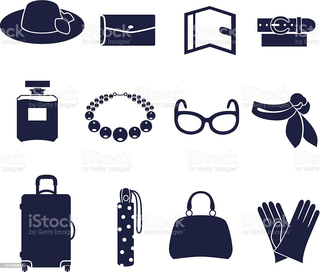 Different types of women's accessories vector art illustration