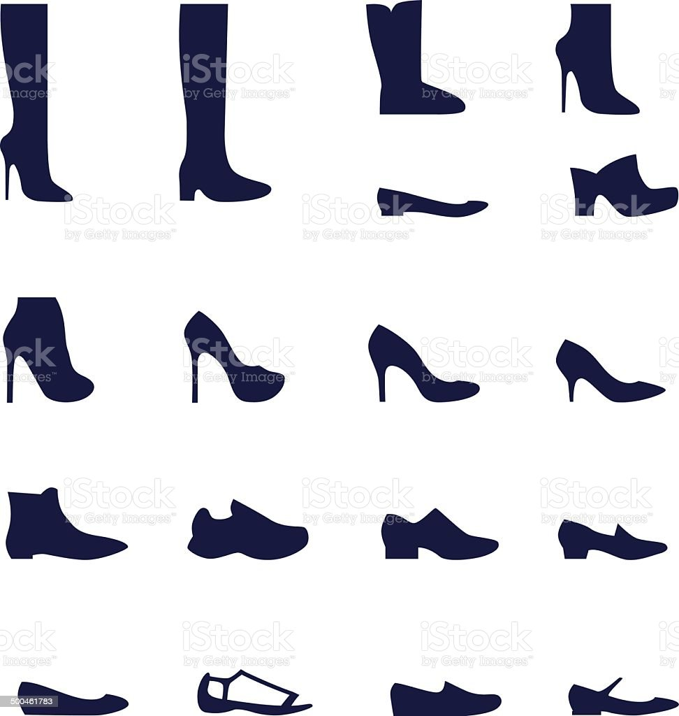Different types of women's shoes vector art illustration