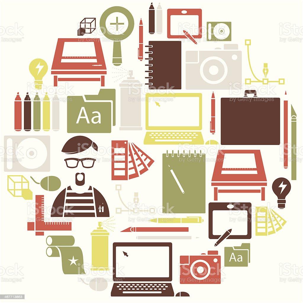 Different useful graphic icon set vector art illustration