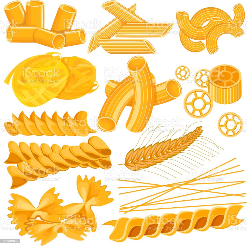 Different variety of Pasta Food Collection vector art illustration