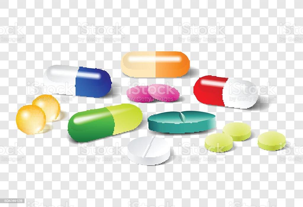 Different vector pills on a transparent background vector art illustration