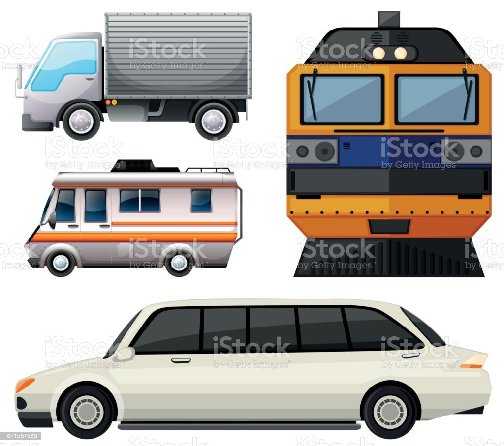 Different vehicles on white background vector art illustration