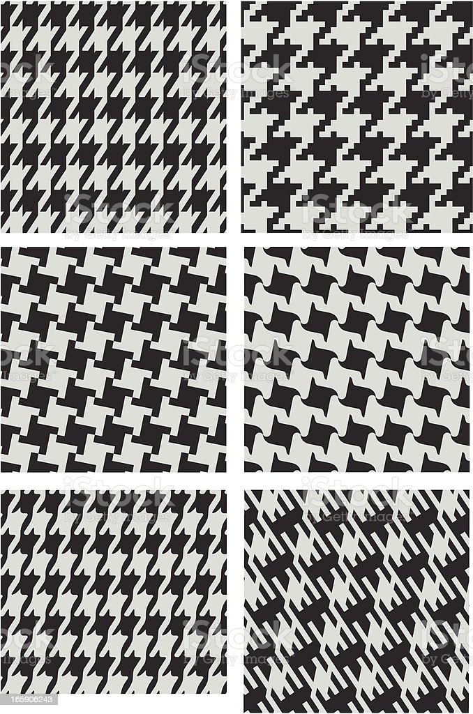Different versions of houndstooth patterns vector art illustration