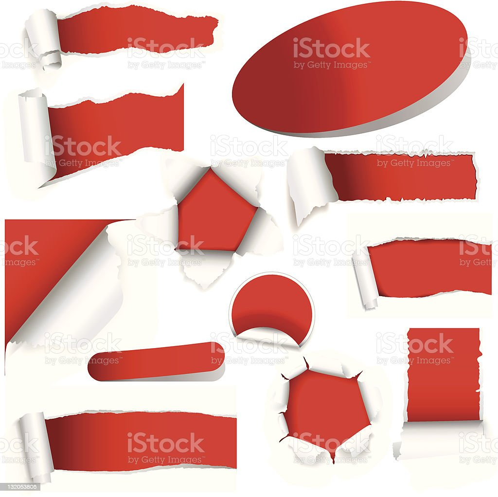 Different views of red torn papers vector art illustration