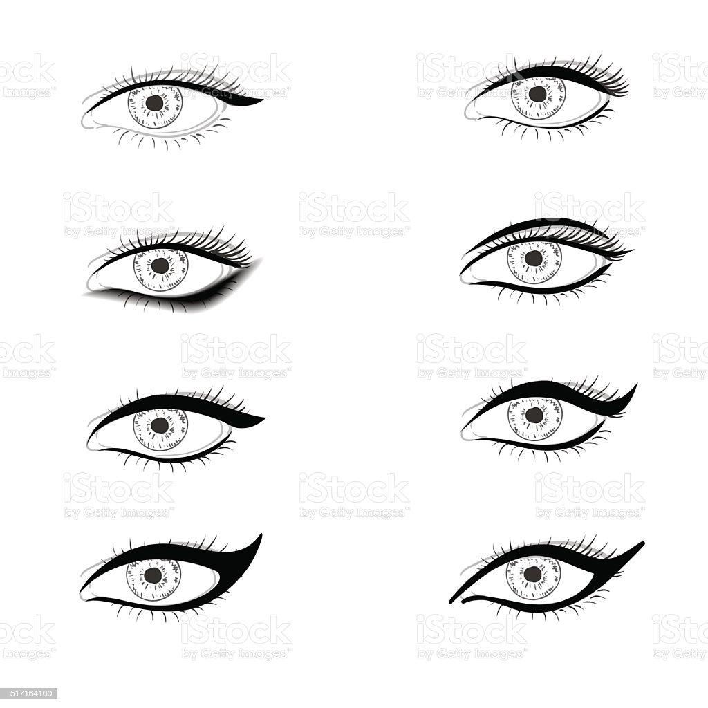 Different ways to put eyelid makeup vector art illustration
