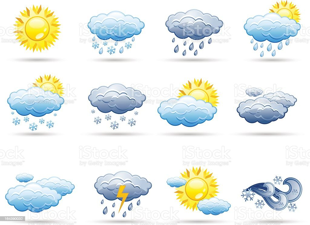 Different weather forecast icons royalty-free stock vector art