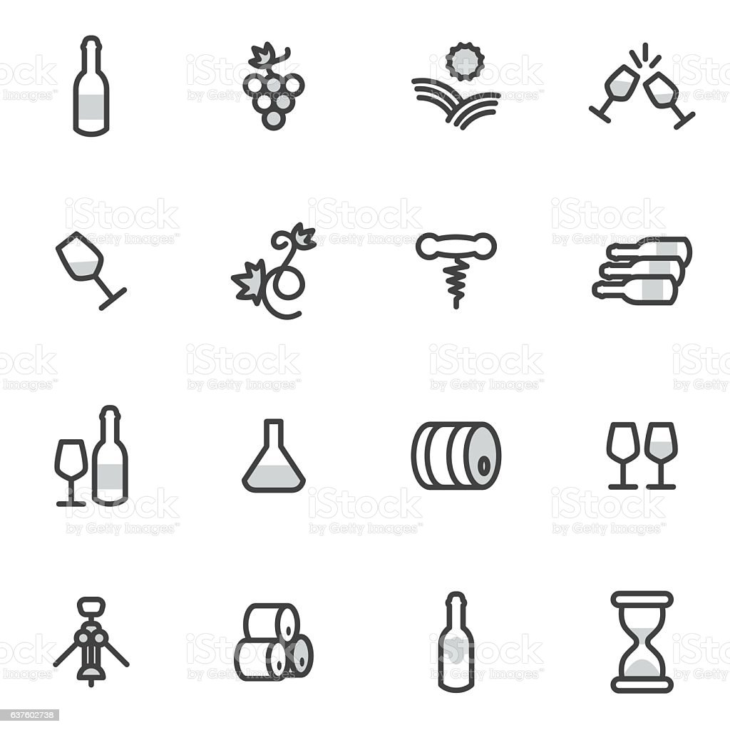 Different wine and vineyard design elements made in modern line vector art illustration