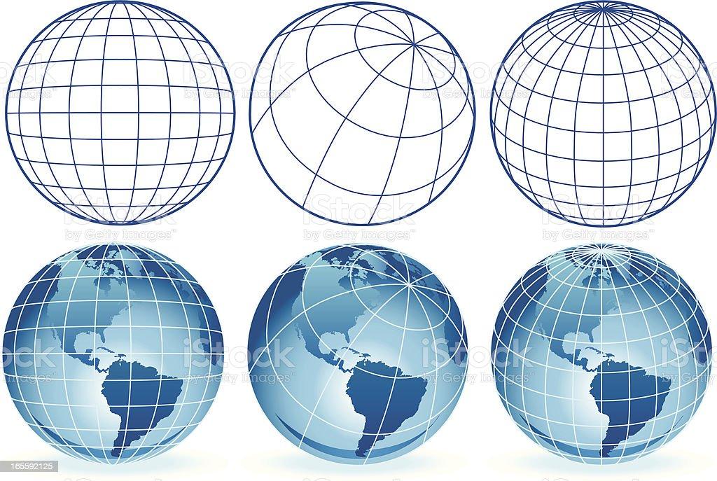 different wire frame globes vector art illustration