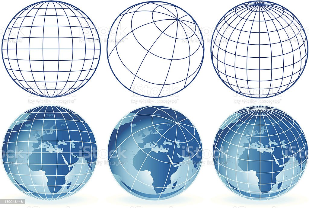 different wireframe globes Europe and Africa royalty-free stock vector art