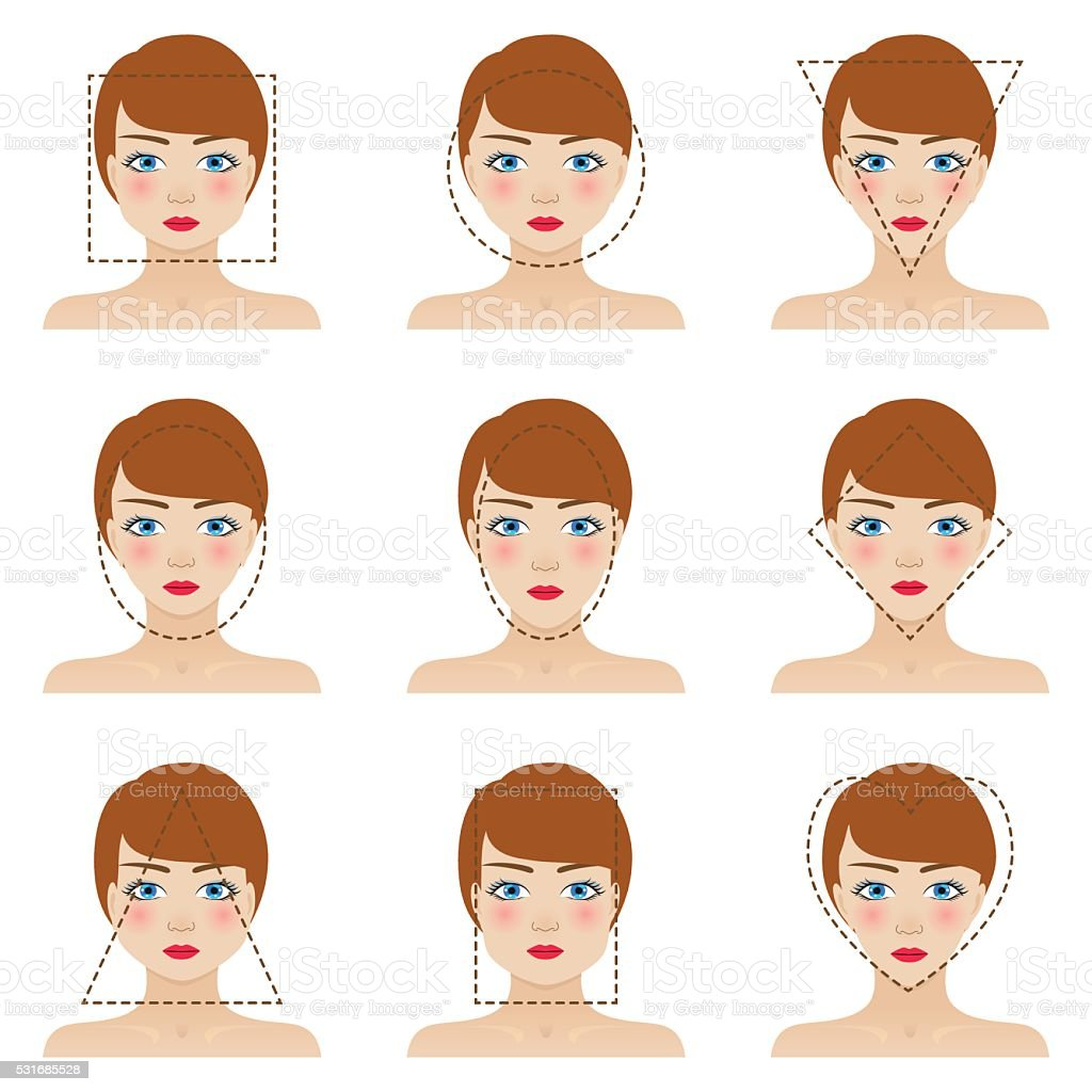 Different woman's face shapes set. Nine icons vector art illustration