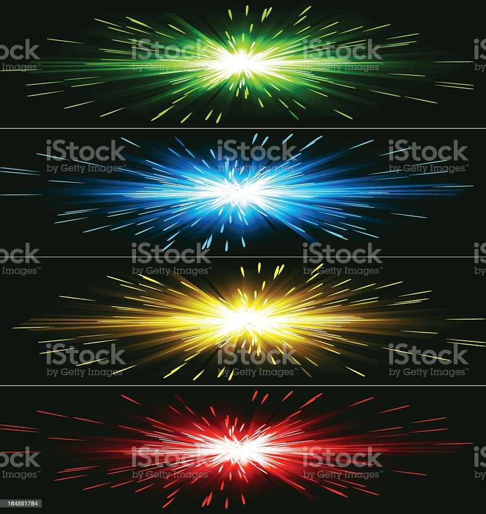 Differently colored abstract exploding banner royalty-free stock vector art