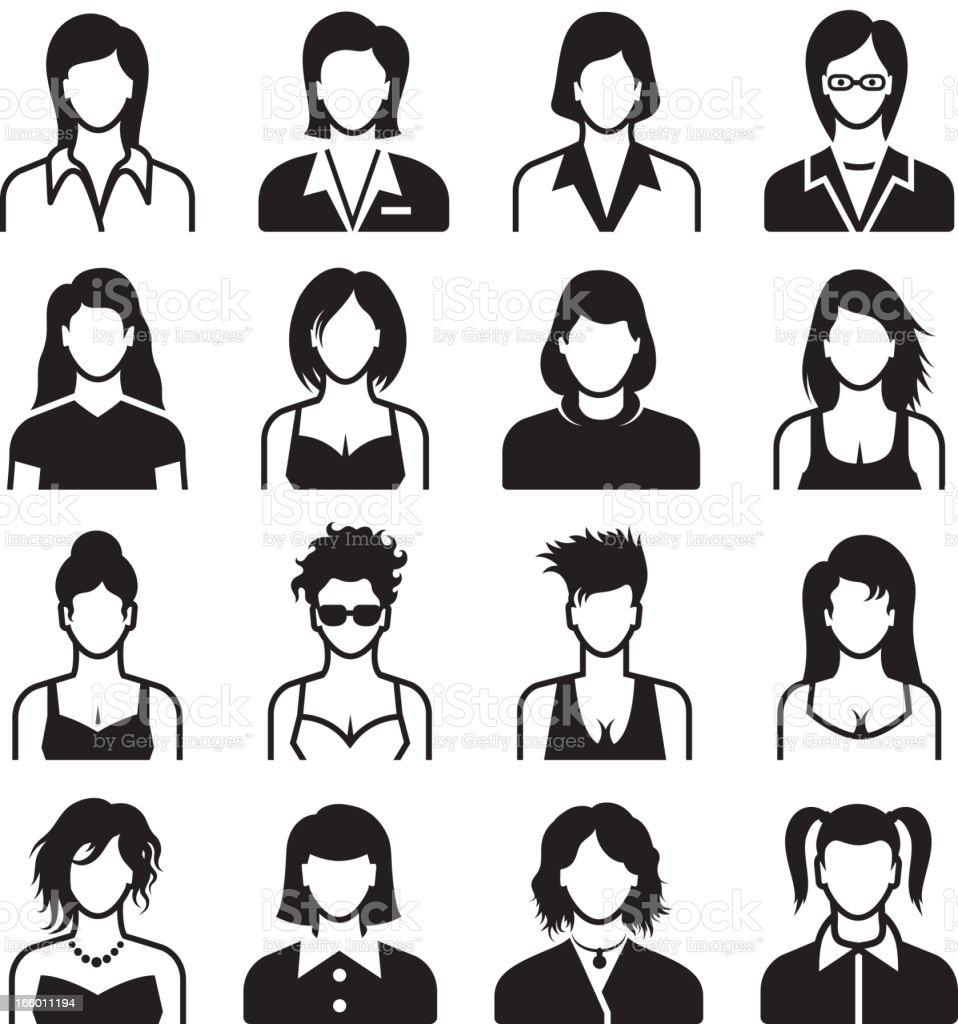 Differnent Female Body Types black & white set vector art illustration