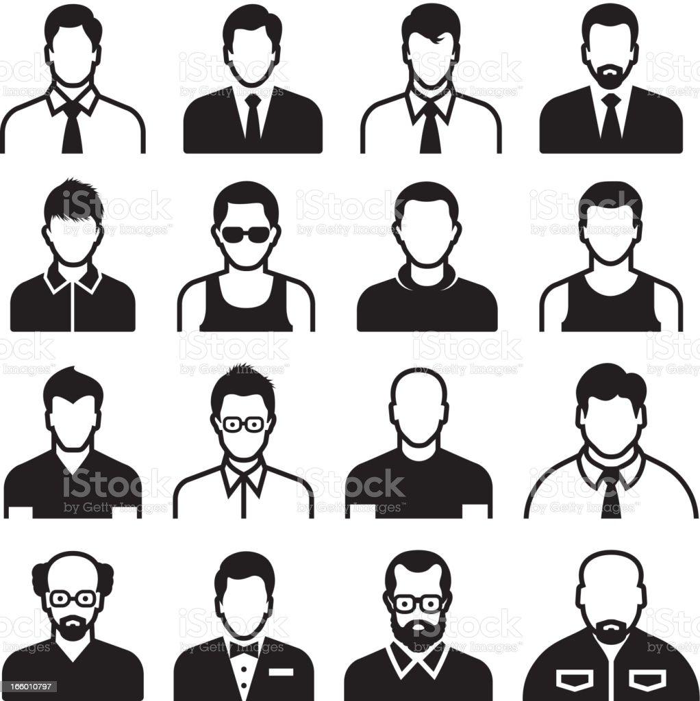 Differnent Male Body Types black & white set vector art illustration