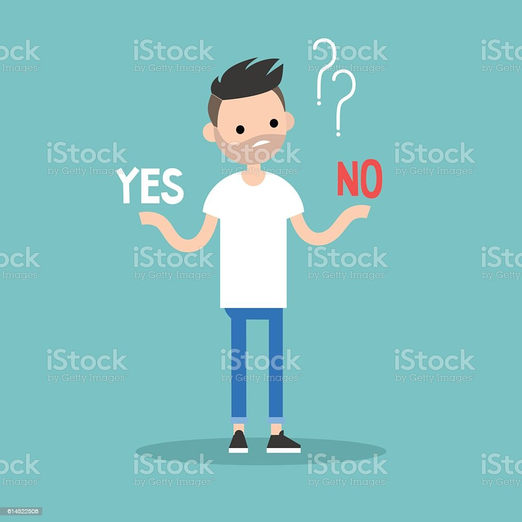 Difficult decision: Yes or no vector art illustration