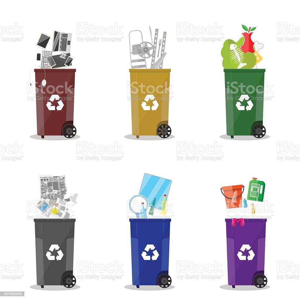 Diffrent waste recycling categories. Garbage bins vector art illustration