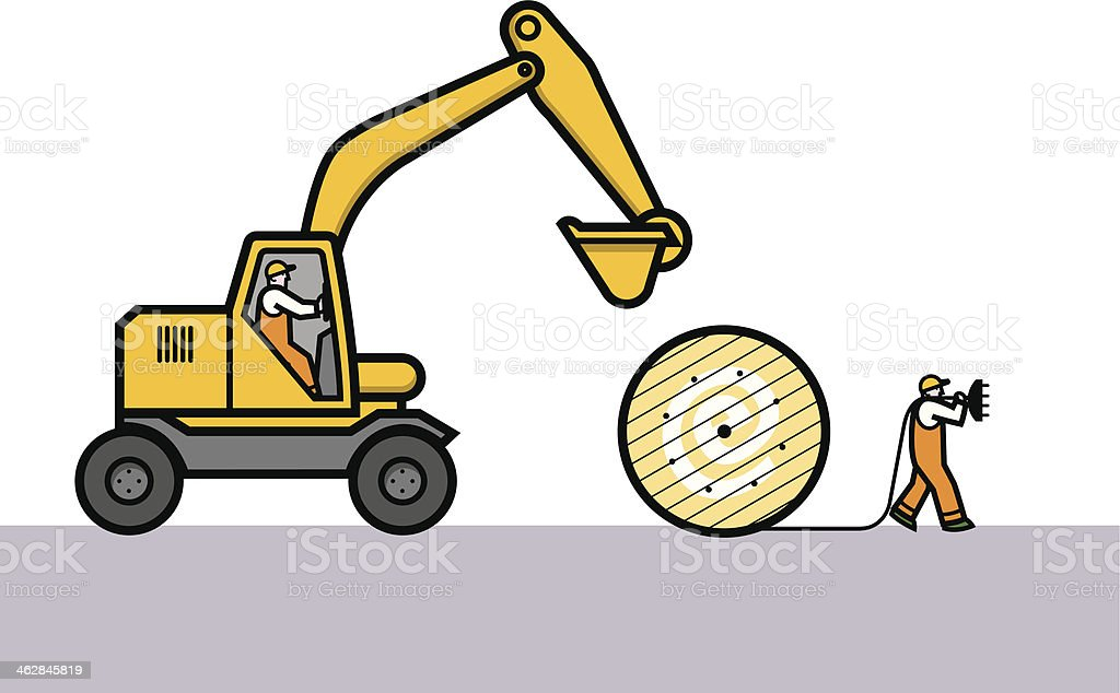 dig a cable trench vector art illustration