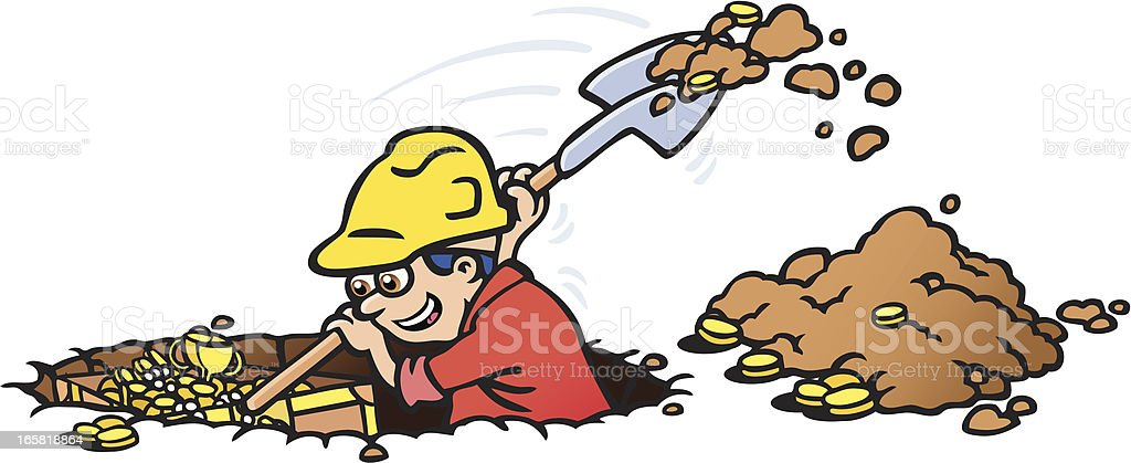 Digging for Gold royalty-free stock vector art