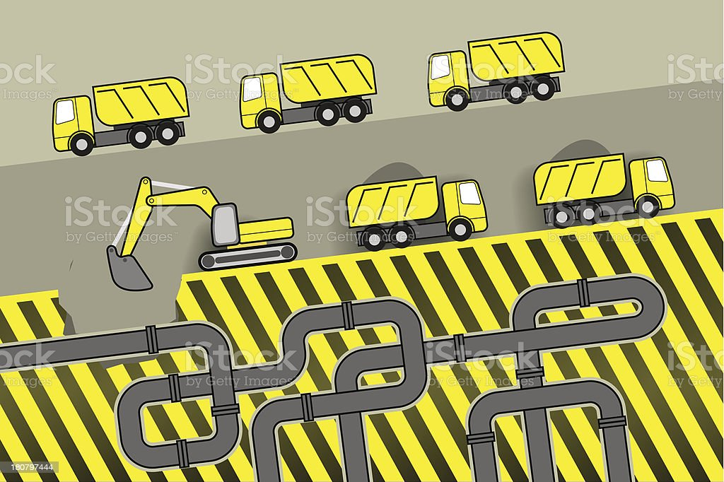 digging trucking plumbing royalty-free stock vector art