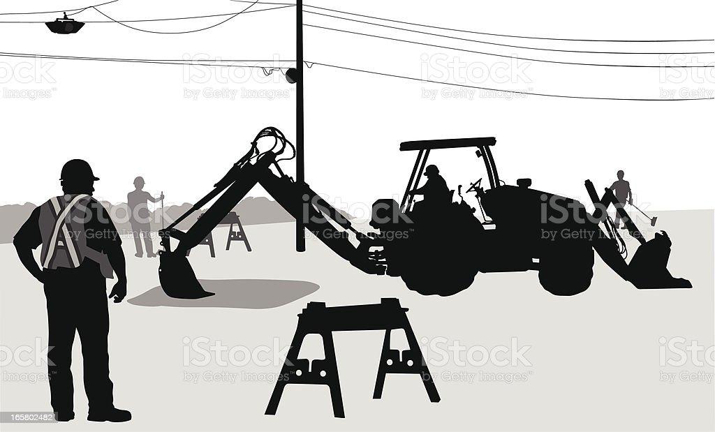 Digging Vector Silhouette vector art illustration