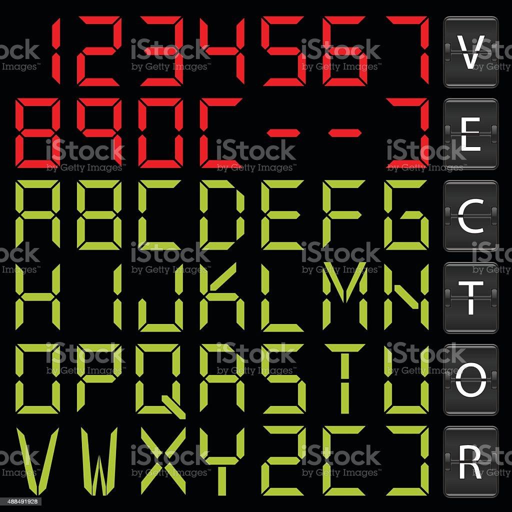 Digital alphabet vector art illustration
