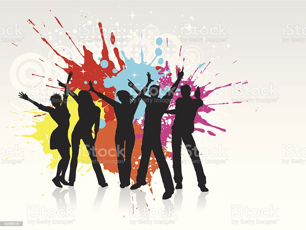Digital art of dancing people silhouettes in front of paint vector art illustration