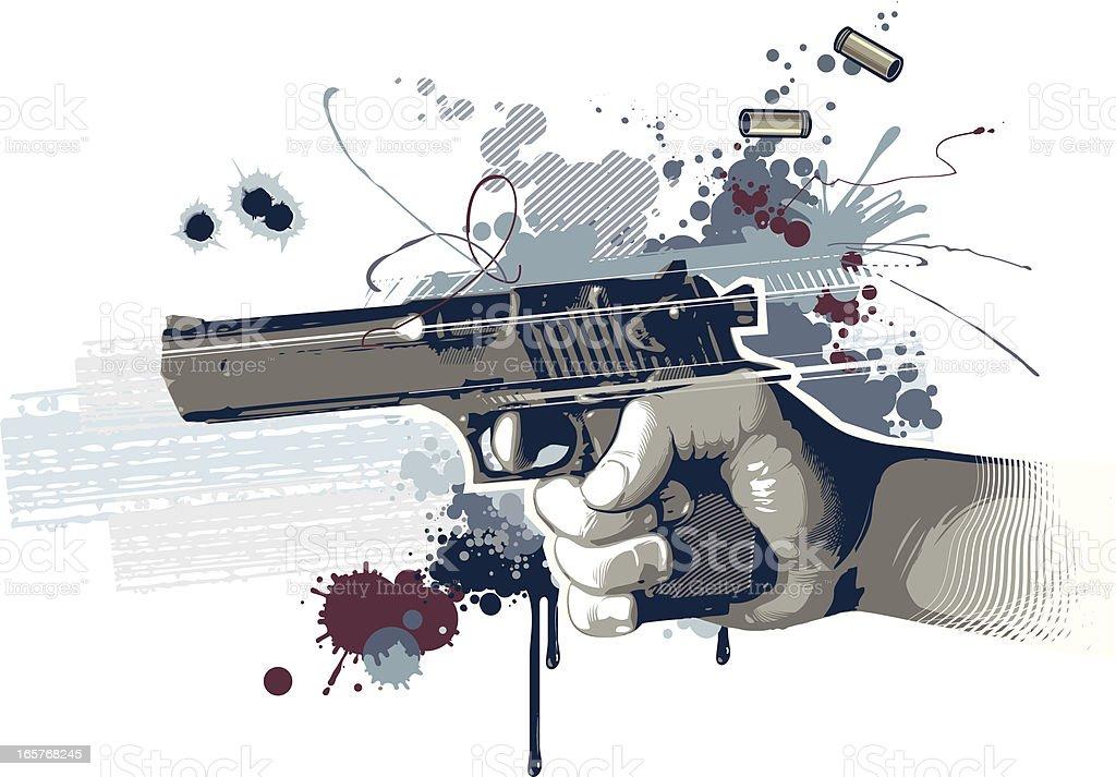Digital art of shooting handgun vector art illustration