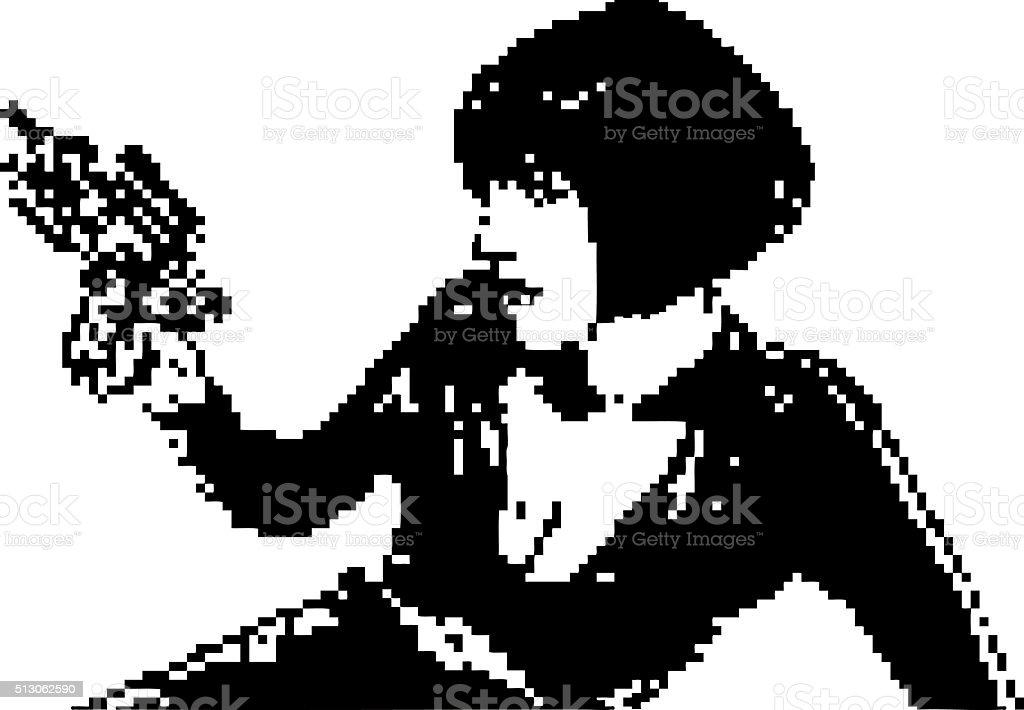 Digital Bitmap Portrait of Retro Space Woman Aiming Ray Gun vector art illustration