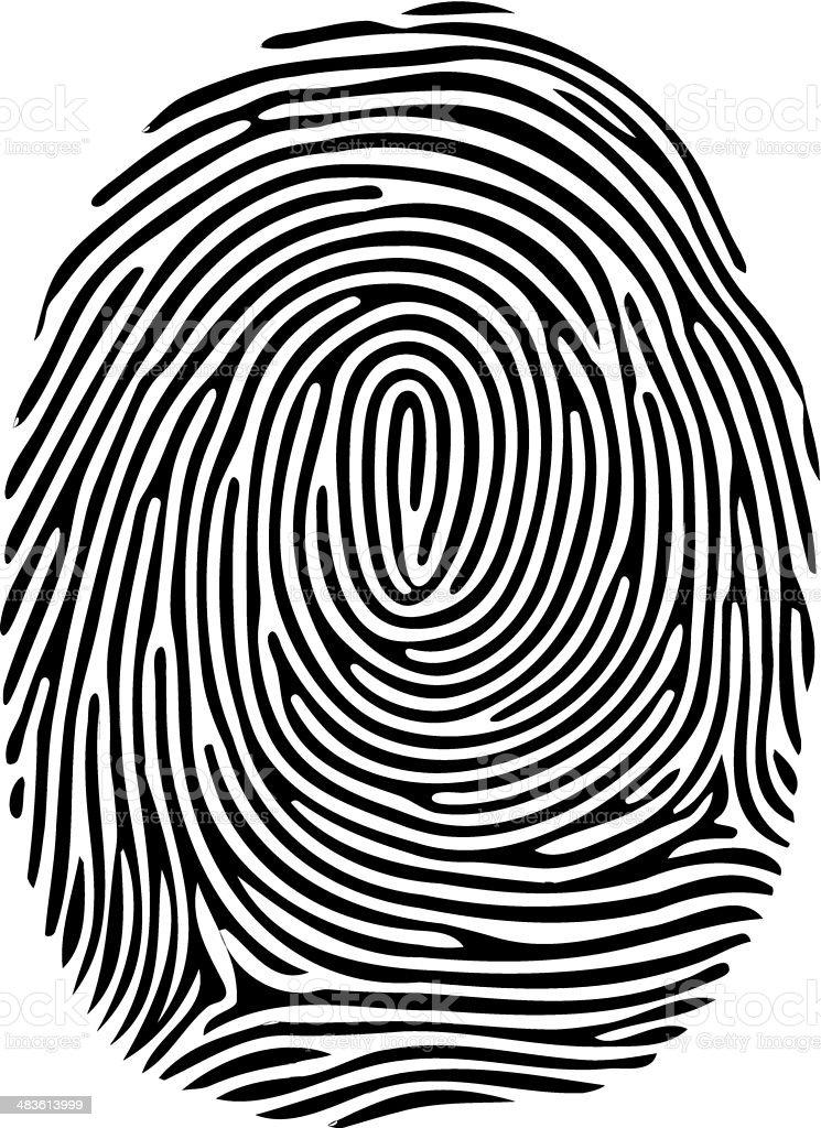 Digital black fingerprint on white background vector art illustration