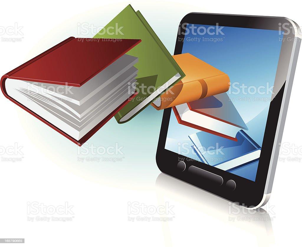 digital book reader vector art illustration