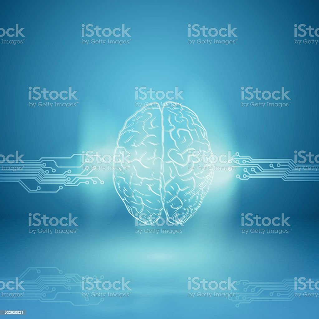 Digital brain on blue background vector art illustration