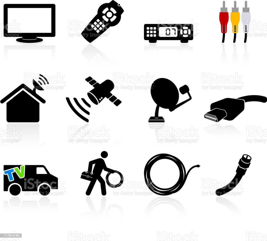 digital cable satellite television installation and equipment vector art illustration