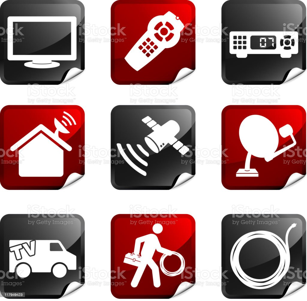 digital cable satellite television royalty free vector icon set stickers royalty-free stock vector art