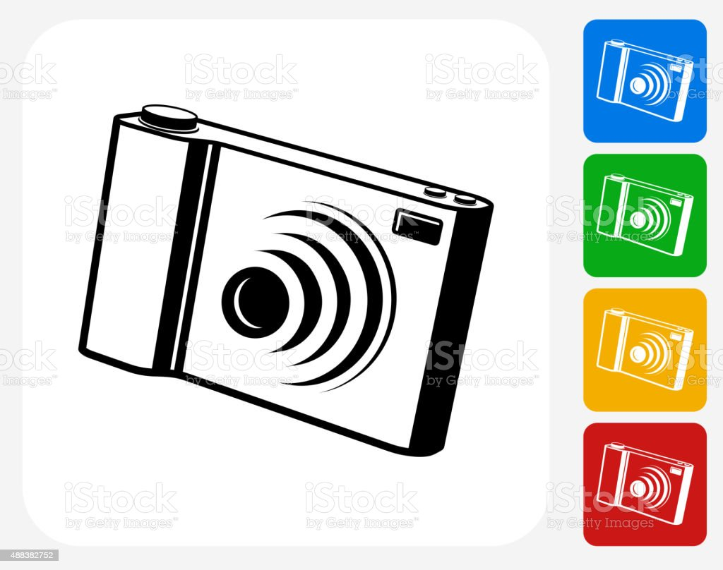 Digital Camera Icon Flat Graphic Design vector art illustration