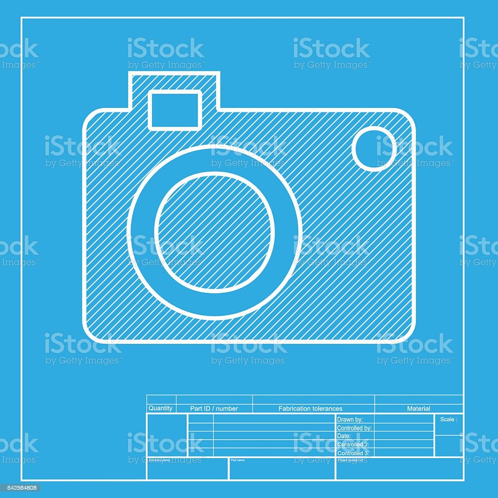 Digital camera sign white section of icon on blueprint template digital camera sign white section of icon on blueprint template royalty free stock malvernweather Gallery