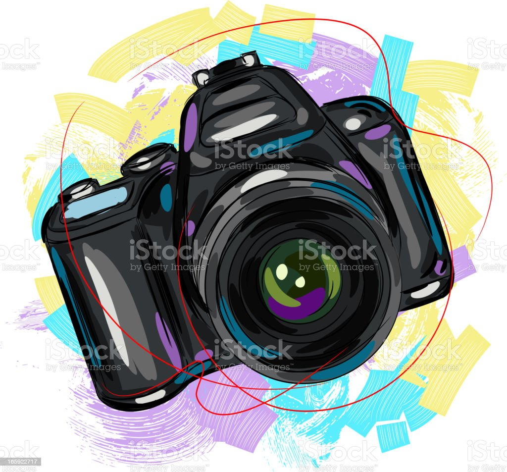 Digital Camera vector art illustration