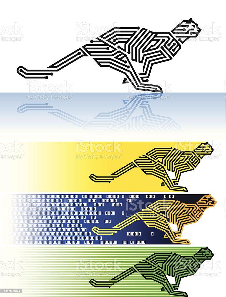 digital cheetah vector art illustration