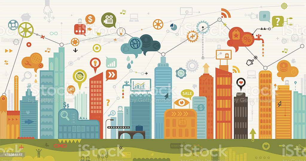 Digital City vector art illustration