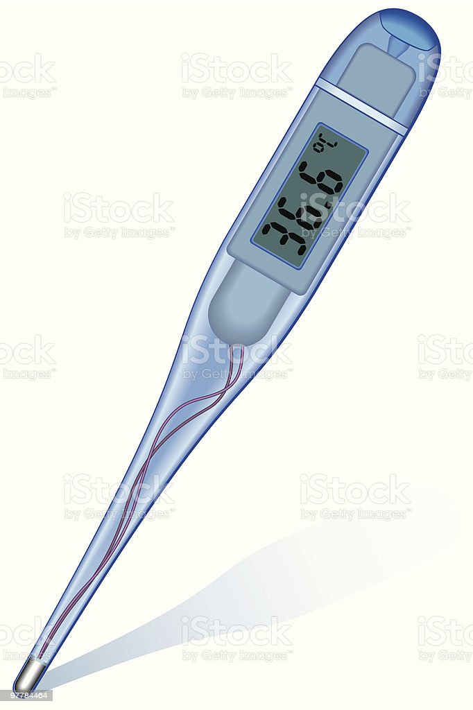 Digital clinical thermometer royalty-free stock vector art