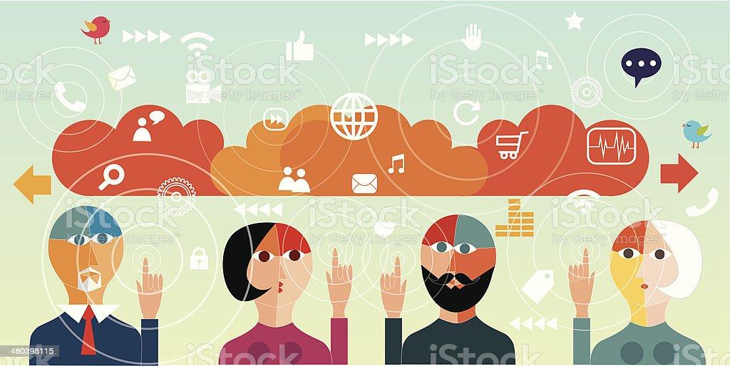 Digital communication vector art illustration