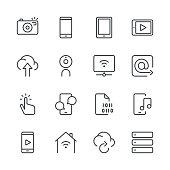 Digital Communications Icons set 1   Black Line series