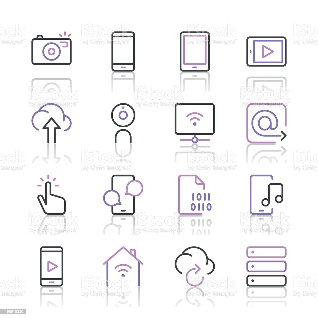 Digital Communications Icons set 1   Purple Line series vector art illustration