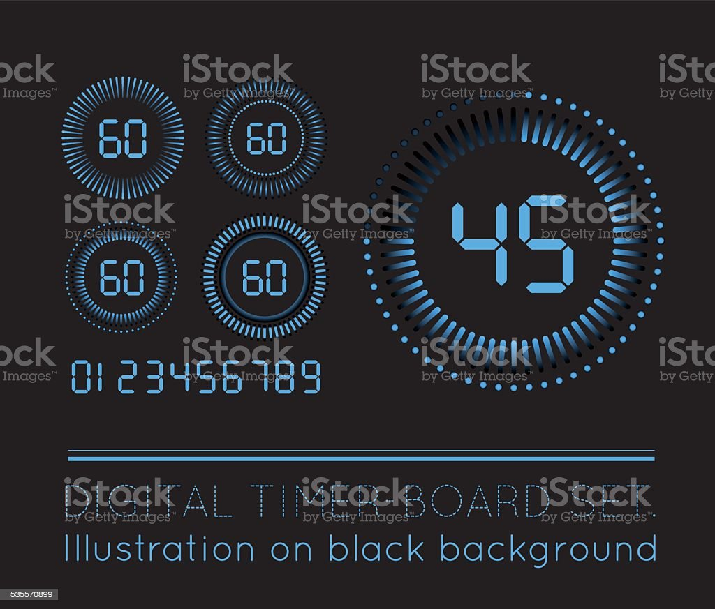 Digital Countdown Timer vector art illustration
