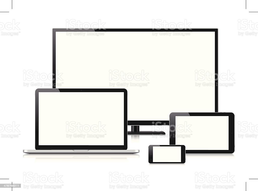 Digital Devices with blank screen (Vector) vector art illustration