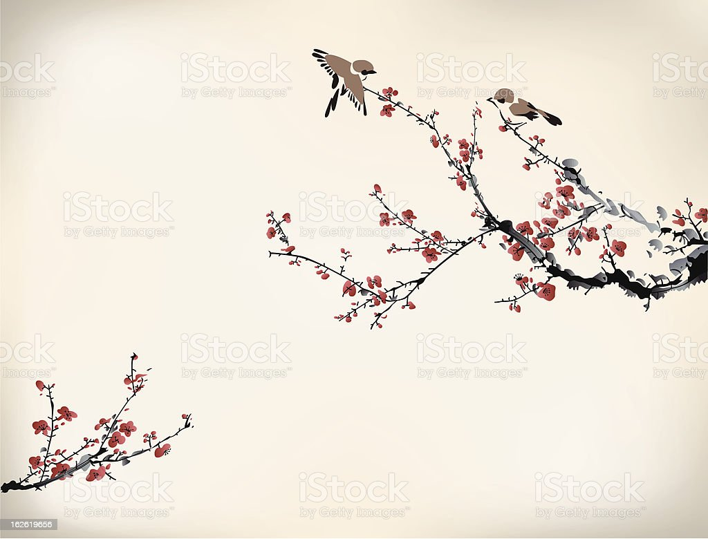 Digital drawing of birds in a Japanese cherry tree in winter royalty-free stock vector art