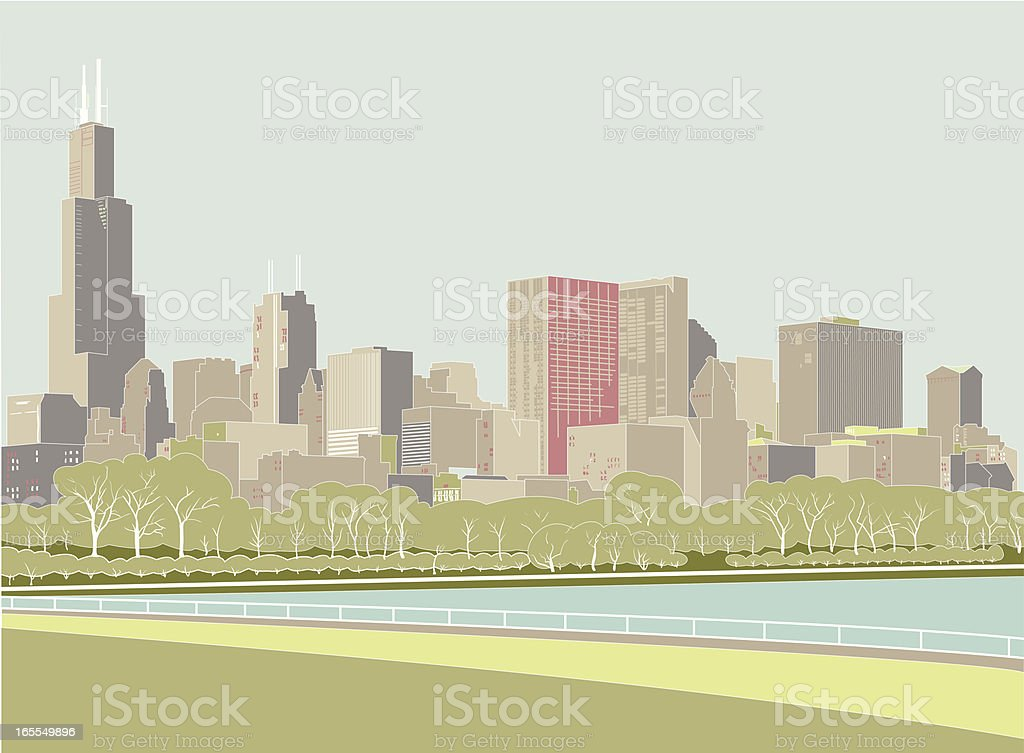 Digital drawing of the Chicago skyline royalty-free stock vector art