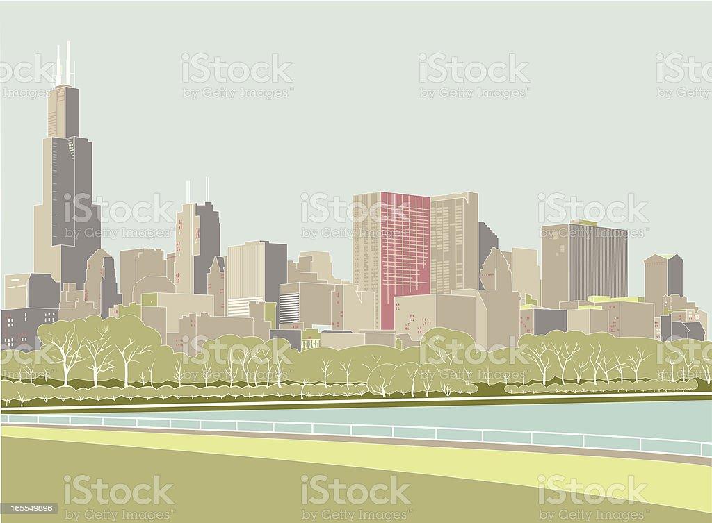 Digital drawing of the Chicago skyline vector art illustration