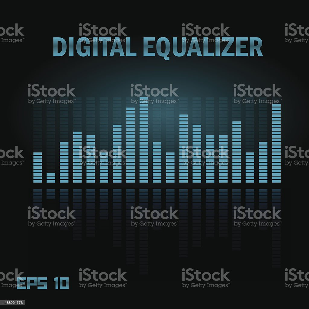 Digital equalizer with multimedia buttons. vector art illustration